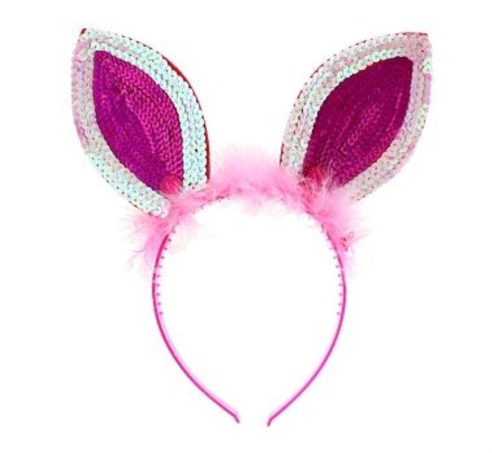Čelenka králík plyšové uši s flitry - růžová  4cbca5a3e8