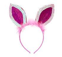 Čelenka králík plyšové uši s flitry - růžová fed0c407db